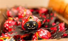 Formade och omkullkastade choklader för nyckelpiga Fotografering för Bildbyråer