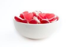 formade sötsaker för bunke hjärta Arkivbild