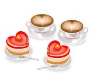 Formade smaklig hj?rta tv? kakor och tv? koppar kaffe med skum i formen av en hj?rta Dag f?r valentin s f?r v?nner vektor vektor illustrationer
