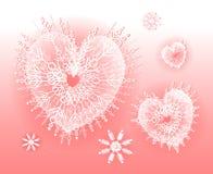 formade snowflakes för hjärta pink vektor illustrationer