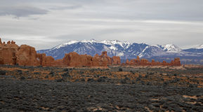 Formações de rocha no por do sol no parque nacional Moab Utá dos arcos Imagens de Stock