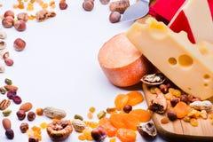 Formaggi con i frutti ed i dadi secchi Fotografia Stock Libera da Diritti