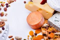 Formaggi con i frutti ed i dadi secchi Fotografie Stock