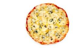Formaggi de quattro de pizza sur le fond blanc photographie stock libre de droits