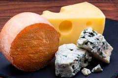 Formaggi sul bordo del formaggio Immagini Stock