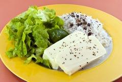 Formaggio alimento-bianco di dieta Fotografia Stock Libera da Diritti