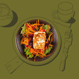 Formaggio arrostito delizioso di halloumi con insalata illustrazione di stock