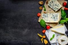 Formaggio blu danese e camembert sullo spazio della copia Fotografia Stock
