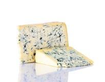 Formaggio blu di Gorgonzola su fondo bianco Fotografia Stock Libera da Diritti