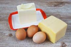 Formaggio, burro ed uova Fotografia Stock Libera da Diritti