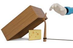 Formaggio con la trappola della scatola di legno isolata sul illu bianco del fondo 3D Fotografie Stock