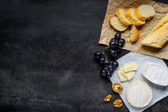 Formaggio del camembert e del brie con lo spazio della copia Immagine Stock