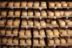 Formaggio del latte sull'scaffali Immagini Stock Libere da Diritti