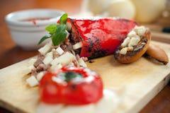 Formaggio del provolone e peperone dolce farcito Immagini Stock Libere da Diritti