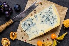 Formaggio di Gorgonzola della muffa blu con i frutti Fotografie Stock