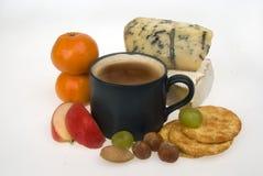 Formaggio e frutta del caffè Fotografie Stock Libere da Diritti