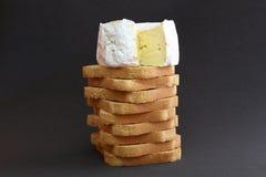 Formaggio e pani tostati Fotografia Stock