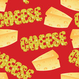Formaggio e testo del formaggio Immagine Stock