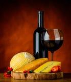 Formaggio e vino rosso Immagini Stock Libere da Diritti
