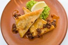 Formaggio fritto, saganaki Fotografie Stock