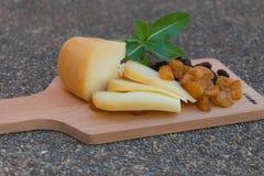 Formaggio Gouda con i frutti secchi Immagini Stock