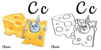 Formaggio Lettera C, pagina di coloritura di alfabeto di vettore Illustrazione Vettoriale