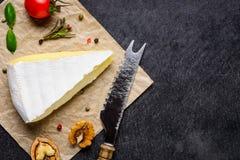 Formaggio a pasta molle del camembert con lo spazio della copia Immagine Stock