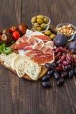 Formaggio, prosciutto di Parma e pera Immagine Stock