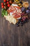 Formaggio, prosciutto di Parma e pera Fotografie Stock