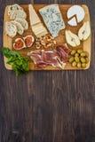 Formaggio, prosciutto di Parma e pera Immagini Stock