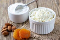 Formaggio sano di ottage del ¡ della prima colazione Ð, albicocche acide, matte e secche crema immagine stock