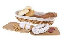 Formaggio squisito, salsiccia, baguettes Fotografia Stock Libera da Diritti
