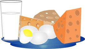 Formaggio, uova e latte Immagine Stock