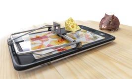 Formaggio virtuale smartphone come la trappola per topi e topo Immagine Stock