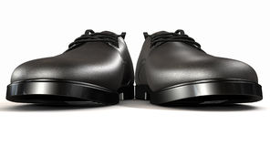 Formal Black Leather Shoes Extreme Front Stock Image