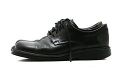 Formal black leather shoes for men - side view Stock Photo