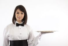 Formal Brunette Server with Silver Tray Stock Photography