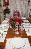Formal Christmas Table with Candleabra Stock Image