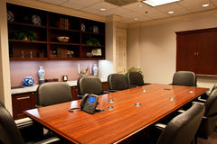 Formal Conference Room with IP Phone on Table Stock Photos
