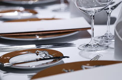 Formal dining table set up Royalty Free Stock Photography