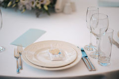 Formal dinner service as at a wedding banquet Royalty Free Stock Photography