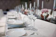 Formal dinner service at a banquet Royalty Free Stock Image