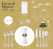 FORMAL DINNER TABLE SETTING. Formal dining with elegant table decoration in glamour style are arrange for full course dinner.n Royalty Free Stock Images