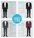 Formal dress code guide for men. Formal dress code guide information chart for men. Suitable outfits for formal events for men. Tuxedo jacket, bowtie, patent Stock Images