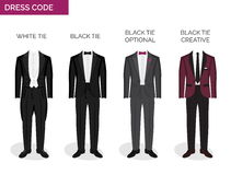 Formal dress code guide for men. Formal dress code guide information chart for men. Suitable outfits for formal events for men. Tuxedo jacket, bowtie, patent Royalty Free Stock Photography