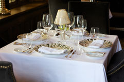 Formal european cafe table setting Royalty Free Stock Image
