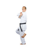 Formal exercises karate in perfoming an athlete. Formal exercises karate in perfoming athlete Royalty Free Stock Image