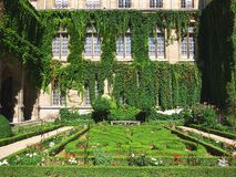 Formal French garden. With trimmed plants and colorful flowers Stock Image