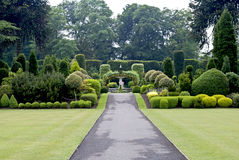 Formal garden. English garden with shrubs in different forms and sizes and a path leading to a fountain in the middle Stock Photography