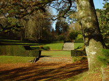 The Formal Garden. A view of the garden of Dartington Hall in Devonshire, United Kingdom Stock Photos